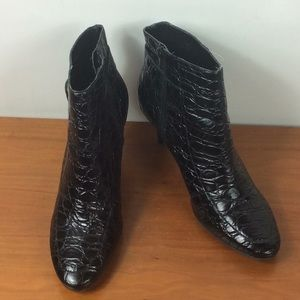 Talbots black leather croc embossed bootie